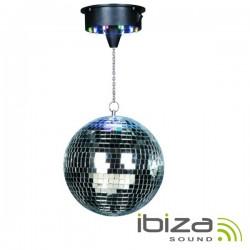 Bola de Espelhos 20cm c/ Motor 18 Leds Rgbw Ibiza
