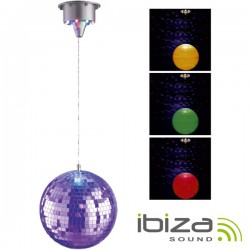 Bola de Espelhos 20cm c/ Motor 17 Leds Rgb Ibiza