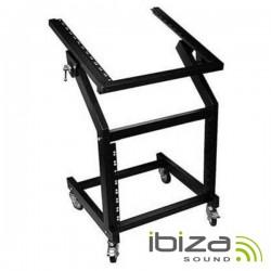 """Suporte Rack 19"""" 12U+9U Rodas 1M 50Kg Ibiza"""