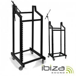 "Suporte Rack 19"" c/ Suporte Microfone/Rodas 1.46M 60Kg Ibiza"