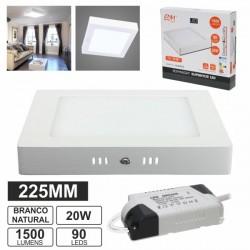 Painel LED Quadrado Superficie 220V 20W Branco Frio