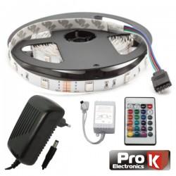 Kit Fita 150 Leds 5050 12V 5M Rgb c/Control Alim Ip20 Prok