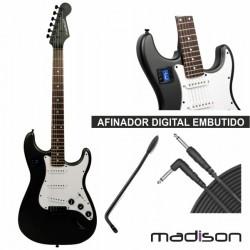 """Guitarra Eléctrica 39"""" Stratocaster Madeira Preto Madison"""