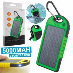 Power Bank Verde 5000Ma c/ Painel Solar E 2 Usb