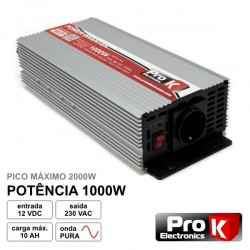 Conversor 12V-230V 1000W Onda Sinusoidal Pura Prok