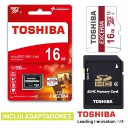 Cartão de Memória Micro Sd 16Gb C10 c/Adaptadores Toshiba