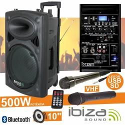 "Coluna Amplificada 10"" 500W Usb/Bt/Sd/Bat Vhf Preta Ibiza"