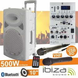 "Coluna Amplificada 10"" 500W Usb/Bt/Sd/Bat Vhf Branca Ibiza"