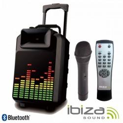 "Coluna Amplificada 8"" 120W Mic/Usb/Bt/Bat Painel Led Ibiza"