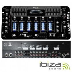 """Mesa de Mistura 19"""" 6 Canais 12 Entradas Preta Ibiza"""