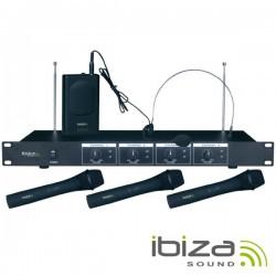 Central Microfone S/Fios 4 Canais Vhf 201.1~207.5Mhz Ibiza