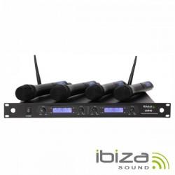 Central Microfone S/Fios 4 Canais Uhf 520~524.9Mhz Ibiza