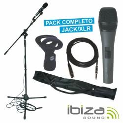 Microfone Dinâmico c/ Cabo/Suporte/Bolsa/Grampo Ibiza