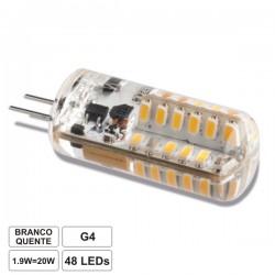 Lâmpada G4 1.9W 12V 48 Leds Smd 3014 Branco Quente 130Lm