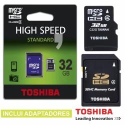Cartão de Memória Micro Sd 32Gb c/Adaptadores Toshiba