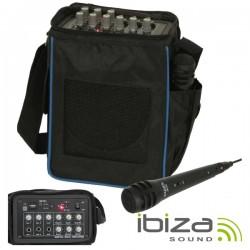 Sistema Som Portátil 20W 12V/230V Usb/Bat/Microfone Ibiza
