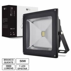 Projector Led 50W 100-265V Branco Quente 3900Lm Ip65 Eco Preto