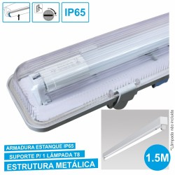 Armadura Estanque 1.5M p/ Lâmpada LED Tubular T8