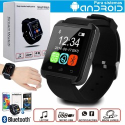 Smartwatch Multifunções Preto c/ Bluetooth p/ Android