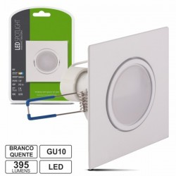 Lâmpada LED c/ Suporte Quadrado Branco 220V 5W Branco Quente 395Lm