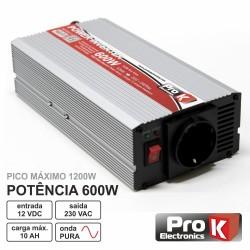 Conversor 12V-230V 600W Onda Sinusoidal Pura Prok