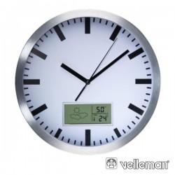 Relógio Parede Analógico c/ Display Termometro E Higrometro
