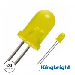 Led 3mm Alto Brilho Amarelo Difuso Kingbright