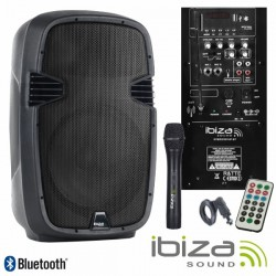 "Coluna Amplificada 8"" 300W Usb/Bt/Sd/Bat/1Xmic Vhf Ibiza"