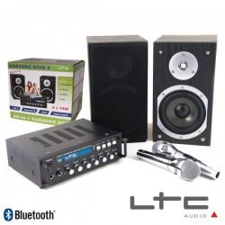 Conjunto Karaoke Amplificador 2X75W 2 Colunas 2Mic Bt Ltc
