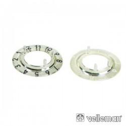 Escala Numérica p/ Botão 21mm Transparente c/ 12 Dígitos