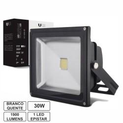 Projector Led 30W 100-265V Branco Quente 1900Lm Ip65 Eco Preto