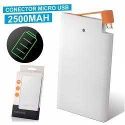 Power Bank Slim Branco 2500Ma c/ Micro Usb Incorporado