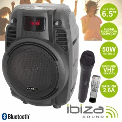 "Coluna Amplificada 6.5"" 50W Mic/Comando/Usb/Bt/Bat/Sd Ibiza"