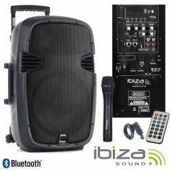"Coluna Amplificada 10"" 400W Usb/Bt/Sd/Bat/1Xmic Vhf Ibiza"