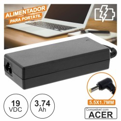 Alimentador p/ Acer 19V 3.74A 90W 5.5X1.7mm