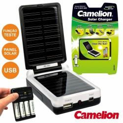 Carregador Solar Universal Baterias AA/AAA Usb Camelion