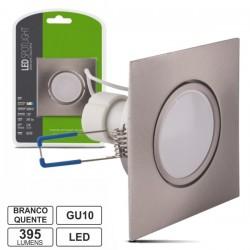 Lâmpada LED c/ Suporte Quadrado Cinza 220V 5W Branco Quente 395Lm