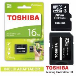 Cartão de Memória Micro Sd 16Gb c/Adaptadores Toshiba