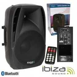 """Coluna Amplificada 10"""" 250Wmáx Comando Usb/Bt/Sd Ibiza"""