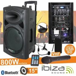 "Coluna Amplificada 15"" 800W Usb/Bt/Sd/Bat Vhf Preta Ibiza"