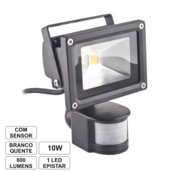 Projector Led 10W 230V c/Sensor Branco Quente 900Lm Ip65 Eco