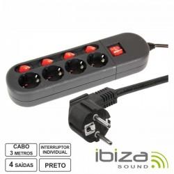 Tomada Eléctrica c/ 4 Saídas Interruptor Individual 3M Ibiza