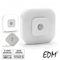 Lanterna de Parede 8 Leds Brancos c/ Sensor 90º
