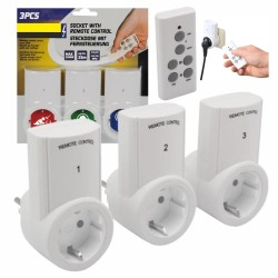 Conjunto de 3 Tomadas Eléctricas c/ Comando S/ Fios