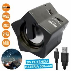 Coluna Portátil 3W Usb/Sd/Fm/Aux/Bat