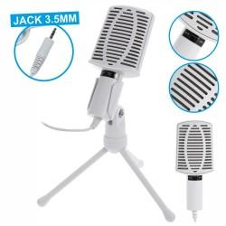 Microfone Retro Ficha Jack 3.5mm c/ Suporte