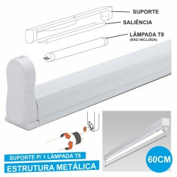 Armadura 60cm p/ Lâmpada Tubular T8