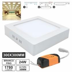 Painel Leds Quadrado Superficie 24W 300mm Branco Frio 1780Lm