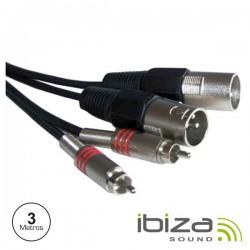 Cabo 2-Xlr 3P Macho / 2-Rca Macho 3M Ibiza