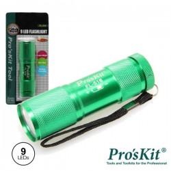 Lanterna Alumínio 9 Leds Alto Brilho Verde Proskit